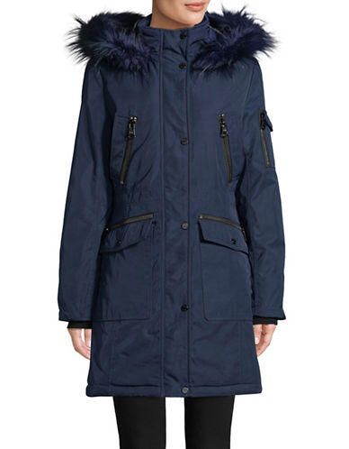 Calvin Klein Faux Fur-Trimmed Parka-NAVY-Small