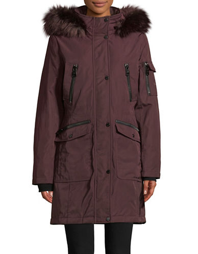 Calvin Klein Faux Fur-Trimmed Parka-WINE-Medium
