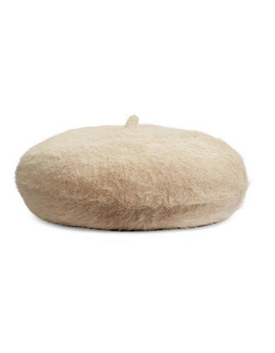 Calvin Klein Woven Fuzzy Beret-ALMOND-One Size