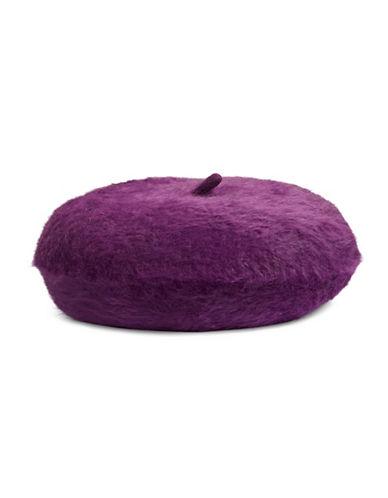 Calvin Klein Woven Fuzzy Beret-AUBERGINE-One Size
