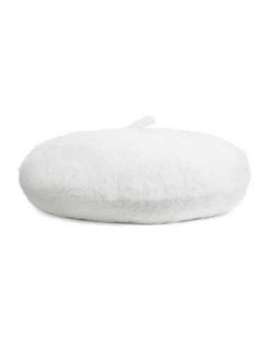 Calvin Klein Woven Fuzzy Beret-CREAM-One Size