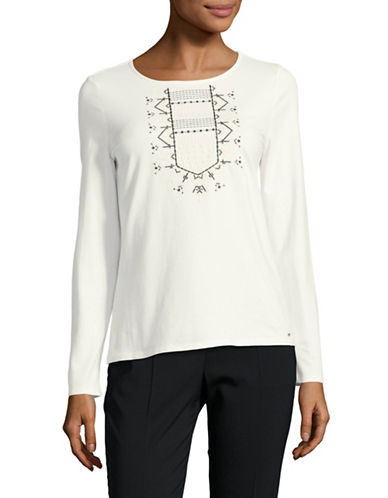 Tommy Hilfiger Graphic Long-Sleeve Top-WHITE-X-Small