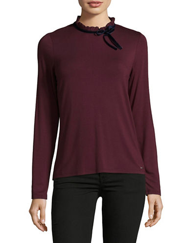 Tommy Hilfiger Long Sleeve Blouse-WINE-Large