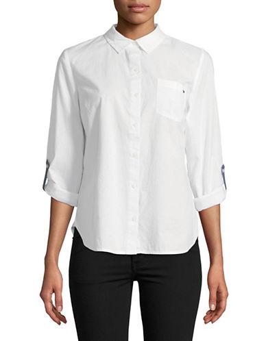 Tommy Hilfiger Roll-Tab Sleeve Cotton Top-WHITE-Medium