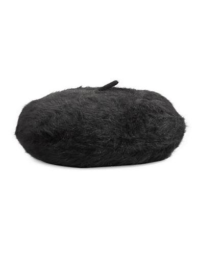 Calvin Klein Woven Fuzzy Beret-BLACK-One Size