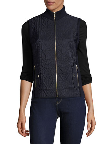 Tommy Hilfiger Quilted Front Vest-BLUE-Medium