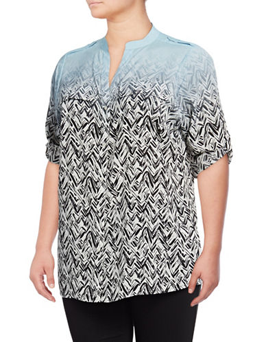 Calvin Klein Plus Printed Roll-Sleeve Shirt-COOL MULTI-1X