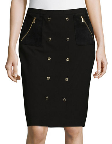 Calvin Klein Snap-Trim Pencil Skirt-BLACK-10