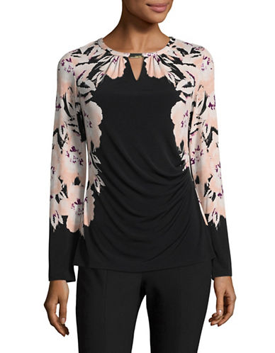 Calvin Klein Printed Wrap Top-PINK-Large