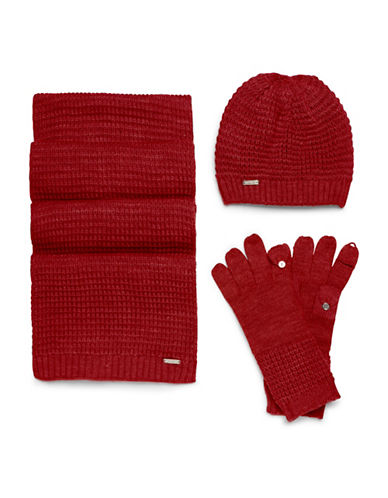 Calvin Klein Three-Piece Hat, Scarf and Gloves Set-RED-One Size 89473436_RED_One Size