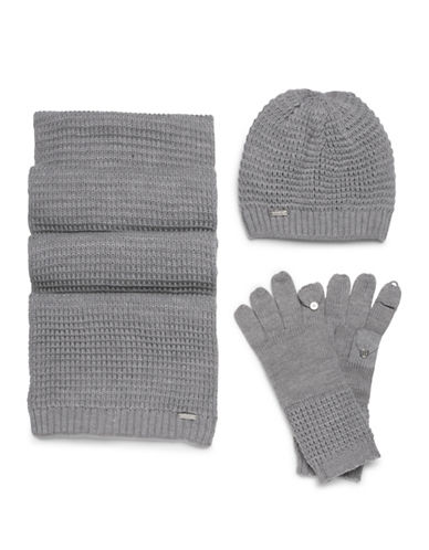 Calvin Klein Three-Piece Hat, Scarf and Gloves Set-GREY-One Size 89473434_GREY_One Size