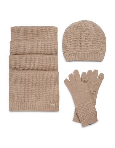 Calvin Klein Three-Piece Hat, Scarf and Gloves Set-ALMOND-One Size