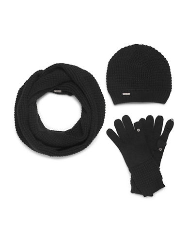 Calvin Klein Three-Piece Hat, Scarf and Gloves Set-BLACK-One Size