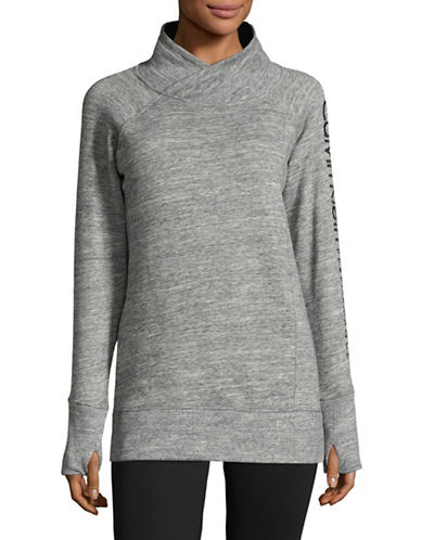 Calvin Klein Performance Cotton-Blend Mock Neck Pullover-LIGHT GREY-X-Large
