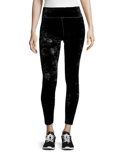 Calvin Klein Performance Velvet Textured Leggings-BLACK-Large