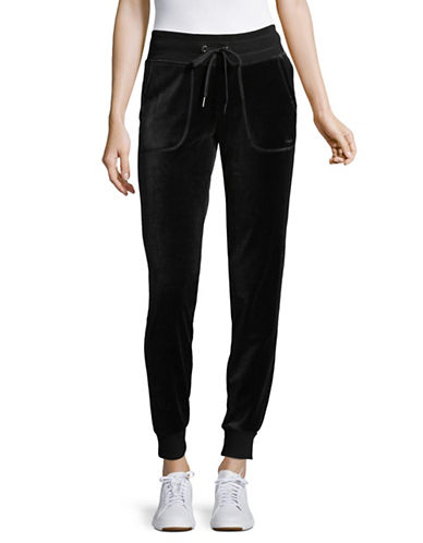Calvin Klein Performance Slim Velour Track Pants-BLACK-X-Large