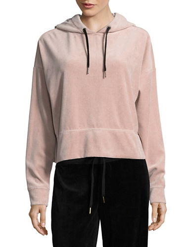Calvin Klein Performance Cropped Velour Hoodie-PINK-X-Large