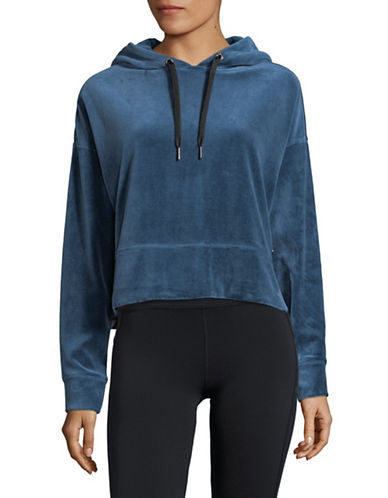 Calvin Klein Performance Cropped Velour Hoodie-BLUE-Large
