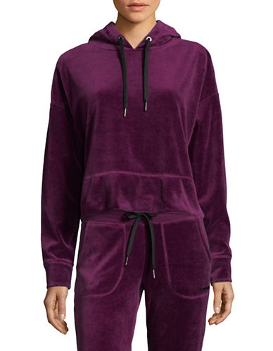 Calvin Klein Performance Cropped Velour Hoodie-WINE-Large