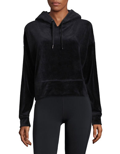 Calvin Klein Performance Cropped Velour Hoodie-BLACK-X-Large