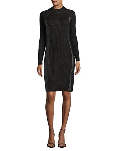 Calvin Klein Ribbed Sweater Dress-BLACK-Medium