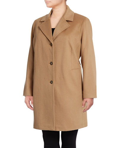 Calvin Klein Plus Wool Blend Coat-CAMEL-1X