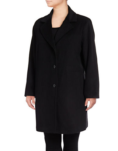 Calvin Klein Plus Wool Blend Coat-BLACK-2X