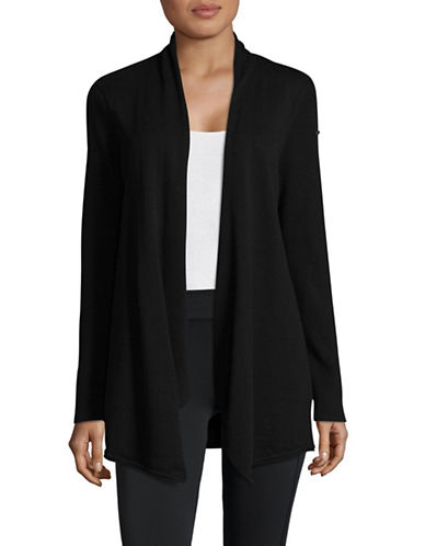Calvin Klein Performance Open-Front Cotton Cardigan-BLACK-Medium