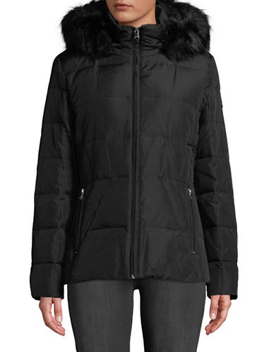 Calvin Klein Faux Fur-Trimmed Down Jacket-BLACK-Medium