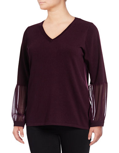 Calvin Klein Plus Sheer Sleeve Shirt-AUBERGINE-2X