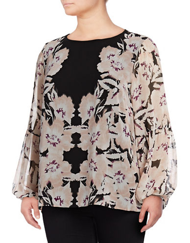 Calvin Klein Plus Bishop Sleeve Floral Tunic-BLUSH/BLACK-1X