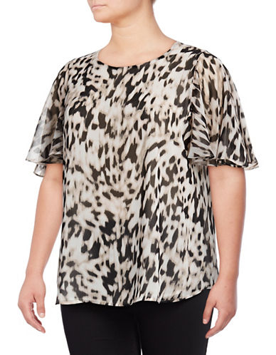 Calvin Klein Plus Leopard Print Tunic-LATTE/SOFT WHITE-1X