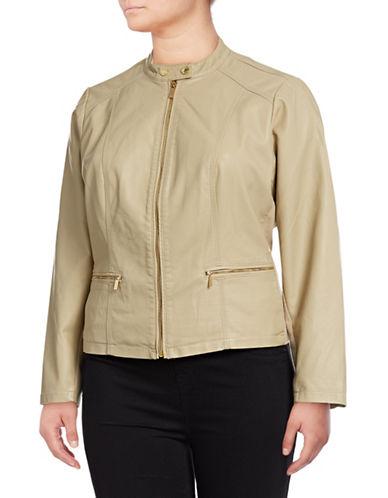 Calvin Klein Plus Front Zip Jacket-LATTE-2X