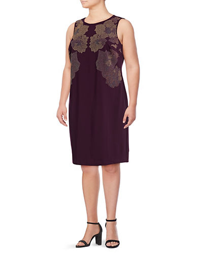 Calvin Klein Plus Plus Heatfix Floral Shift Dress-AUBERGINE-14W