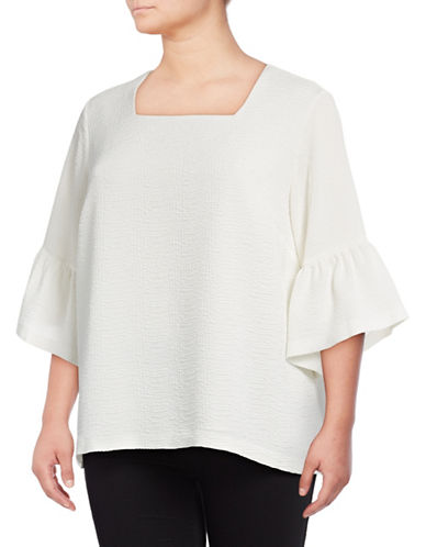 Calvin Klein Plus Bell Sleeve Tunic-SOFT WHITE-0X