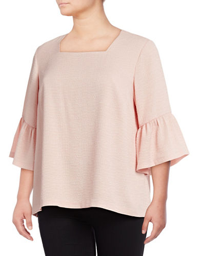 Calvin Klein Plus Bell Sleeve Tunic-BLUSH-1X
