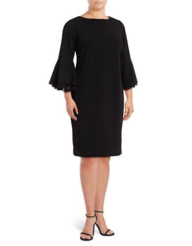 Calvin Klein Bell Sleeve Shift Dress-BLACK-14W