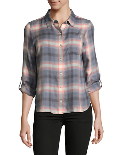 Tommy Hilfiger Plaid Button-Down Top-GREY-Small