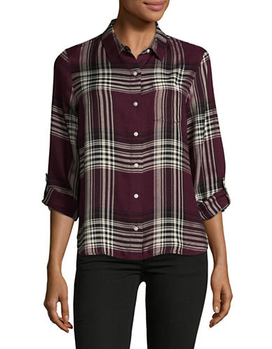 Tommy Hilfiger Plaid Button-down Shirt-WINE-X-Small