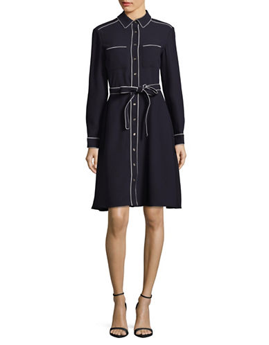 Tommy Hilfiger Tiered Fit-and-Flare Dress-BLUE-4