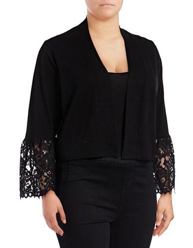 Calvin Klein Lace Cuff Shrugs-BLACK-2X