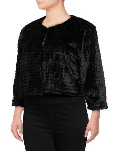 Calvin Klein Faux Fur Shrug-BLACK-3X