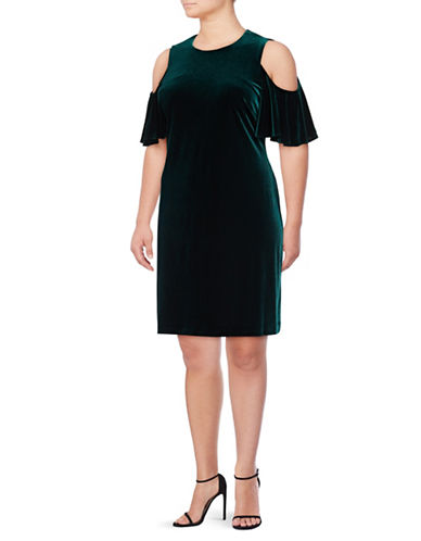 Calvin Klein Cold Shoulder Velvet Shift Dress-GREEN-14W