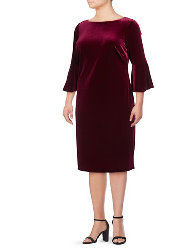 Calvin Klein Velvet Sheath Dress-RED-14W