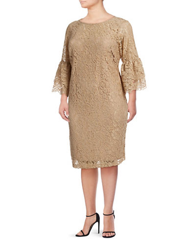 Calvin Klein Bell Sleeve Lace Overlay Dress-BROWN-16W