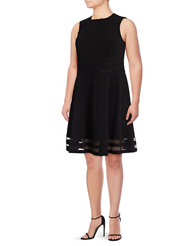 Calvin Klein Mesh Panel Fit-and-Flare Dress-BLACK-22W
