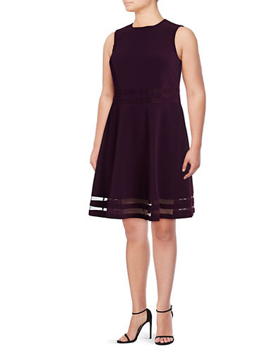 Calvin Klein Mesh Panel Fit-and-Flare Dress-PURPLE-18W
