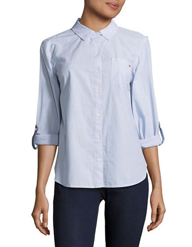 Tommy Hilfiger Cotton Button-Down Shirt-BLUE-Large