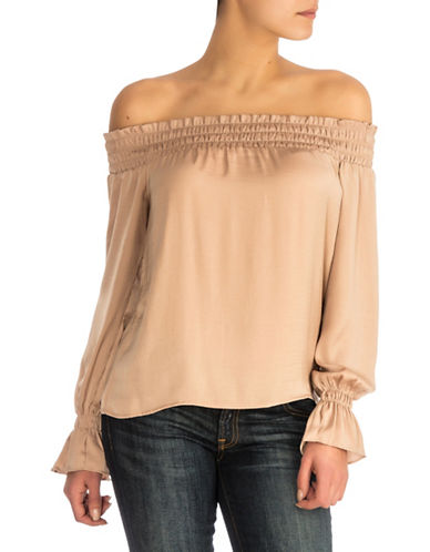 Guess Bethany Off-the-Shoulder Top-BEIGE-X-Large
