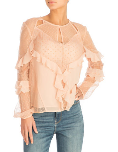 Guess Juniper Ruffled Top-PASTEL PINK-X-Large